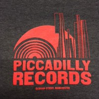 Image of Piccadilly Records - Logo T-Shirt - Summer 18: Heather Navy / Coral Red