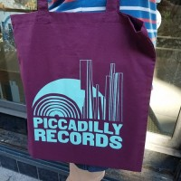 Image of Piccadilly Records - Burgundy Tote Bag - Aqua Print