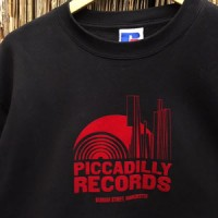 Image of Piccadilly Records - Black Sweatshirt With Flock Red Logo