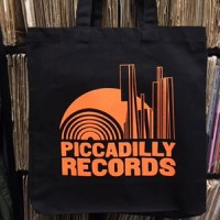 Image of Piccadilly Records - Black Heavyweight Fair Trade Cotton Tote - Orange Print