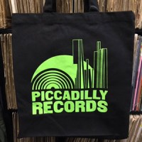 Image of Piccadilly Records - Black Heavyweight Fair Trade Cotton Tote - Green Print