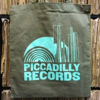 Image of Piccadilly Records - Khaki Green Tote Bag - Mint Green Print