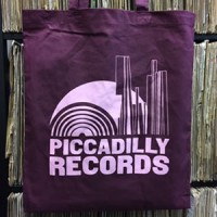 Image of Piccadilly Records - Burgundy Tote Bag - Bubblegum Pink Print