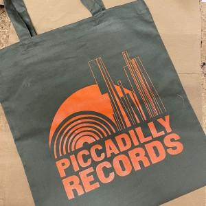 Image of Piccadilly Records - Khaki Tote Bag - Burnt Orange Print