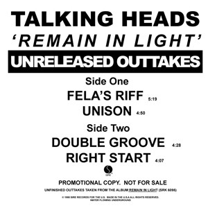 Talking Heads - Remain In Light - Unreleased Outakes