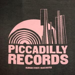 Image of Piccadilly Records - Logo T-Shirt - Summer 21: Charcoal Grey / Pale Pink