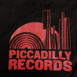 Piccadilly Records - Black Heavyweight Fair Trade Cotton Tote - Cherry Red  Print