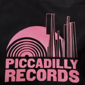 Piccadilly Records - Black Heavyweight Fair Trade Cotton Tote - Bubblegum Pink Print