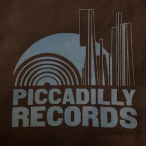 Piccadilly Records - Black Heavyweight Fair Trade Cotton Tote - Electric Blue Print