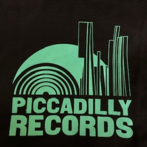 Piccadilly Records - Black Heavyweight Fair Trade Cotton Tote - Mint Green Print